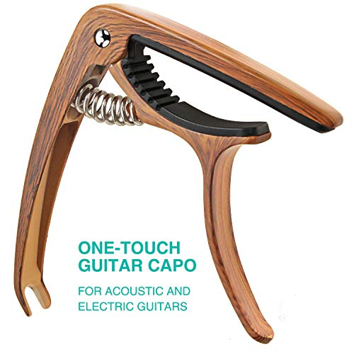 SIIWOO Guitar Capo for Acoustic Guitar, Ukulele Electric Capo(Woodgrain color)