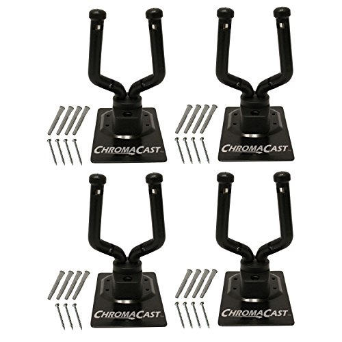 ChromaCast Wall Hanger Stand for Guitar, Bass, Ukulele, Violin, Cello, Mandolin, Banjo, Saxophone, Trumpet, 4 Pack (CC-GWALL-4PK)