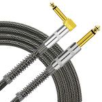TISINO Guitar Cable, 6ft 1/4 inch TS Right Angle to Straight Guitar Instrument Cord for Electric Guitar, Bass, Amp, Keyboard, Mandolin - Black