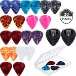 Guitar Picks & Guitar Picks Holder, 2 Black Stick-on Holders, 20 Pieces Guitar Picks, 1 Storage Case, Easy to Paste Suitable for Guitar/Electric Guitar/Bass/Ukulele (Colorful Celluloid Guitar Picks)