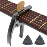 Guitar Capo 3 in 1 Zinc Alloy Metal Capo for Acoustic and Electric Guitars, Ukulele, Mandolin, Banjo, with Pick Holder and Two Guitar Picks (black)