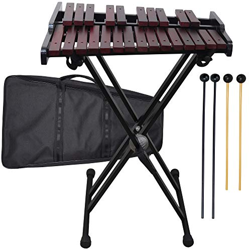 Wooden 25-note Xylophone with Stand 4 Mallets