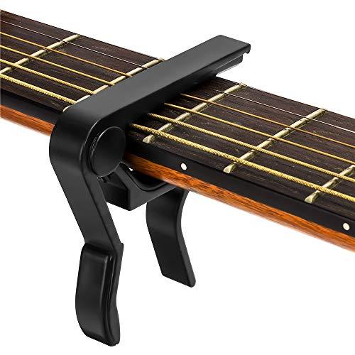 Guitar Capo, for 6 String Acoustic and Electric Guitars, Bass,Mandolin, Ukulele, Black Guitar Capo