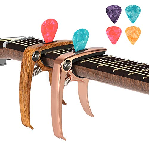 SUNJOYCO 3 in 1 Zinc Metal Guitar Capo and Rosewood Color Capo(with Pick Holder and 6 Picks) for Acoustic Guitar, Electric Guitar, Ukulele, Bass, Banjo, Mandolin
