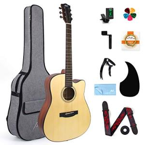 Acoustic Guitar Full Size 41 inch Spruce Cutaway Guitar Bundle