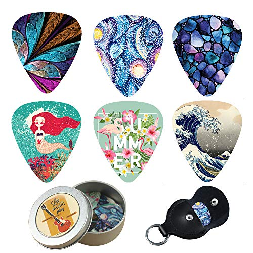 Guitar Picks - Cheliz 12 Medium Gauge Celluloid Guitar Picks In a Box W/Picks Holder. Unique Guitar Gift For Bass, Electric & Acoustic Guitars (Abstracts)
