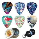 Guitar Picks – Cheliz 12 Medium Gauge Celluloid Guitar Picks In a Box W/Picks Holder. Unique Guitar Gift For Bass, Electric & Acoustic Guitars (Abstracts)