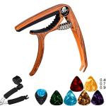 Guitar Capo for Acoustic and Electric Guitars Quick Change Grain Clamp Dark Wood (gift:Guitar Pick & String Winder )