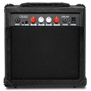 LyxPro Electric Guitar Amp 20 Watt Amplifier Built In Speaker Headphone Jack And Aux Input Includes Gain Bass Treble Volume And Grind - Black