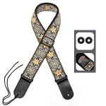 Eyeshot Guitar Strap Adjustable Jacquard Woven Guitar Strap with Genuine Leather End, Acoustic Electric Bass Vintage Guitar Strap with Strap Locks & Strap Picks