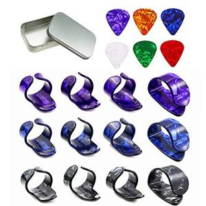 Non-square 3 Pairs Thumb and Finger Picks. Best for Fingerstyle Acoustic Guitar, Banjo or Ukulele.6 pcs 0.96mm Guitar picks. (Thumb Finger Picks)