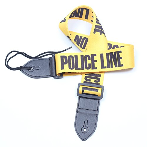 GOKKO AUDIO Guitar Strap POLICE LINE Nylon Leather Ends For Acoustic & Electric