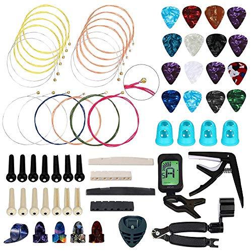 66PCS Guitar Accessories Kit, Acoustic Guitar Changing Tool, Including Guitar Acoustic Strings, Guitar Picks, Capo, String Winder&Cutter, Tuner, Guitar Bones,for Guitar Players and Guitar Beginners