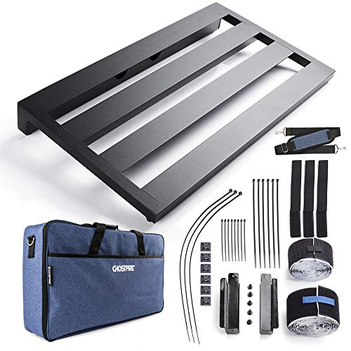 """Vangoa Aluminum Guitar Pedal Board Large, 22"""" x 12.6"""" x 2.36"""" with Carry Bag and Power Supply Mounting Brackets"""