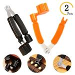 MaiKeEr 2 Pcs Black and Orange Guitar String Winder Cutter&Bridge Pin&Puller 3-in-1 Upgraded Guitar Repair Tool for Electric Guitar Ukulele