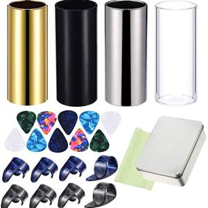 24 Pieces Medium Guitar Slides kits,4 Pieces Medium Guitar Slides(Include 3 Colors Stainless Steel, 1 Pieces Glass), 10 Pieces Guitar Picks,cleaning cloth and 8 Pieces Plastic Thumb & Finger Picks