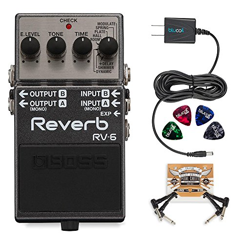 BOSS RV-6 Digital Reverb Pedal Bundle with Blucoil Slim 9V Power Supply AC Adapter, 2-Pack of Pedal Patch Cables, and 4-Pack of Celluloid Guitar Picks