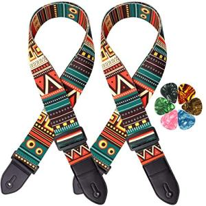 8 Pack Guitar Strap, Includes 2 Guitar Straps and 6 Guitar Pick,Guitar Accessories Electric Adjustable Soft Guitar Strap with Premium Leather Ends, Suitable for Bass, Electric and Acoustic Guitars