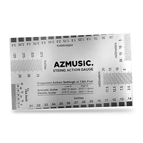 AZMUSIC Premium String Action Gauge, Compact and Versatile Luthier Tool for Quick and Easy Guitar Set Up and Maintenance