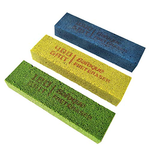 Baroque Fret Erasers 180 & 400 & 1000 Grits, Guitar Fret Polishing Abrasive Rubber Blocks, Set of 3 Grits