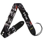 Dulphee Guitar Strap Skull Design Cool Polyester Shoulder Strap for Bass, Electric & Acoustic Guitar (Black Skull)