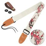 Guitar Strap Vintage Tweed 100% Cotton & Leather Ends Shoulder Strap For Bass, Electric & Acoustic Guitars (Plum Blossoms)