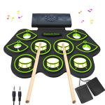 Electronic Drum Set – MIDI Drum Practice Pads,Bluetooth Portable Roll Up Electric Drum kit for Kids Beginner,Kids Drum Set with Headphone Jack, Built in Speaker, Battery, Drum Stick Drum Pedals