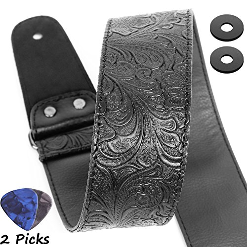 Guitar Strap, Printed Leather Guitar Strap PU Leather Western Vintage 60's Retro Guitar Strap with Genuine Leather Ends for Electric Bass Guitar,Wide Adjustment Range, with Tie,Include 2 Picks,Black