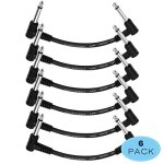 Donner 6 Inch Guitar Patch Cable Black Guitar Effect Pedal Cables (6-Pack)