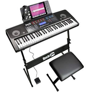 RockJam RJ761 61 Key Electronic Interactive Teaching Piano Keyboard with Stand, Stool, Sustain Pedal and Headphones, Superkit (RJ761-SK)