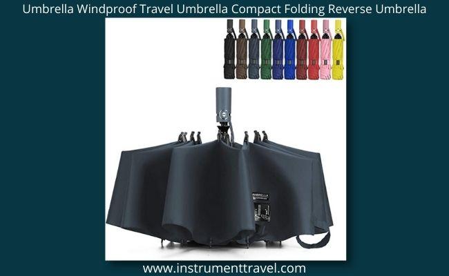 Umbrella Windproof Travel Umbrella Compact Folding Reverse Umbrella