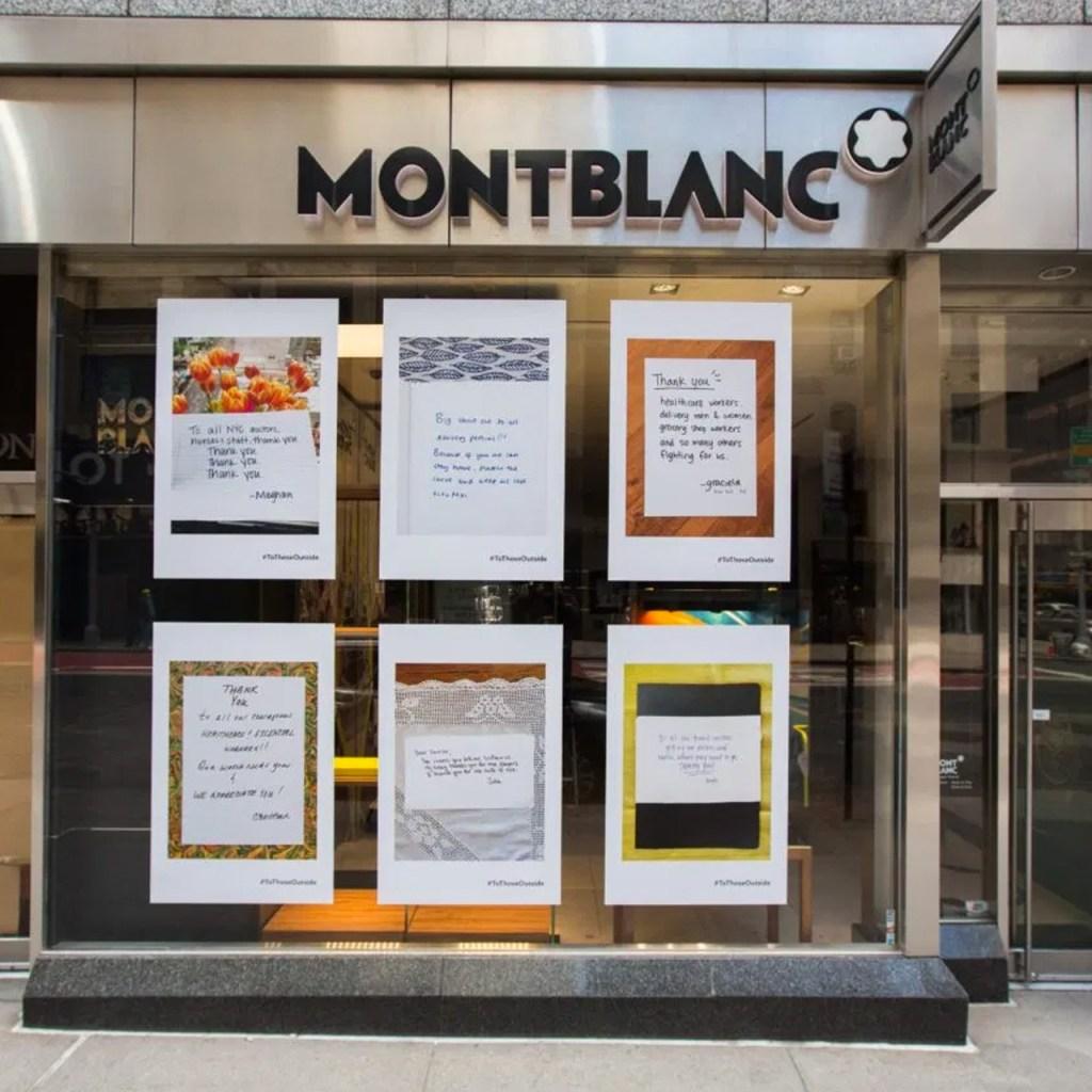 Mont Blanc convierte sus escaparates en mensajes de apoyo