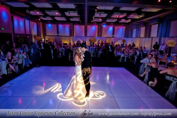 First Dance White Dance Floor with Monogram Gobo InStyle