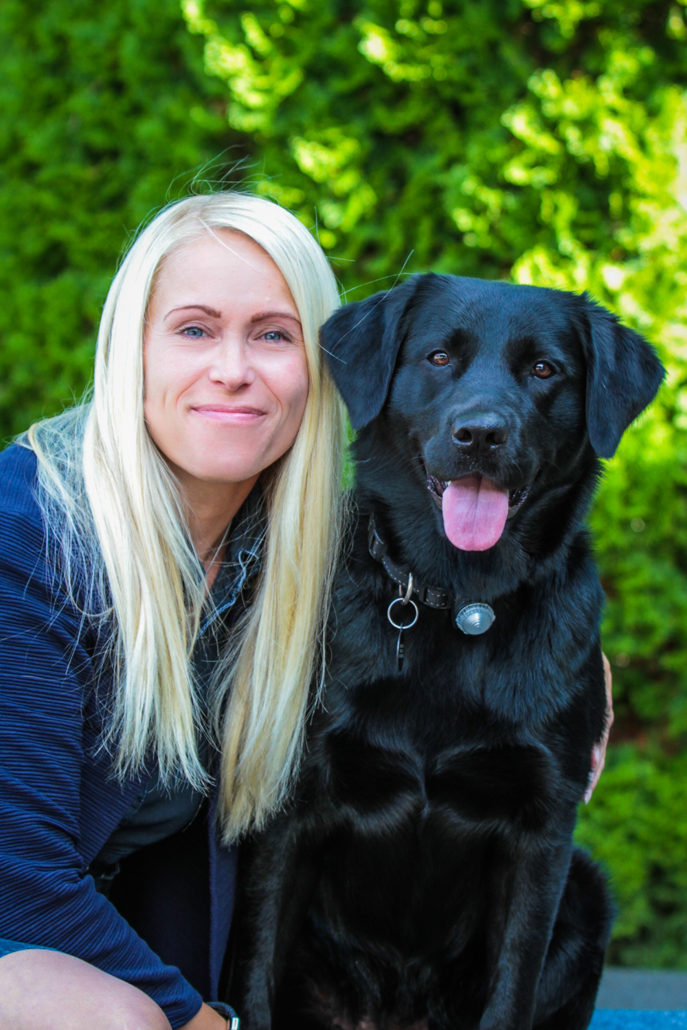 Owner and her pet labrador