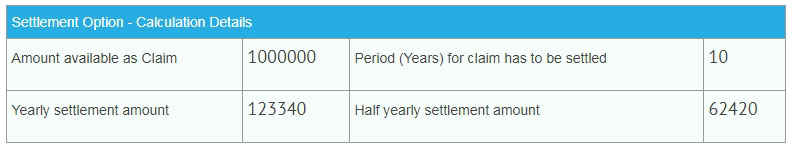 settlement option example of benefits
