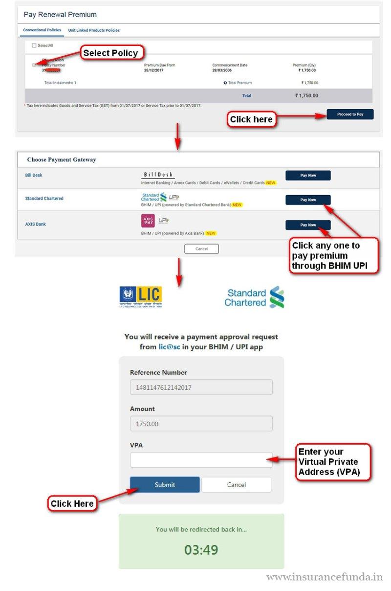 Pay LIC Premium using BHIM UPI APP step by step guide