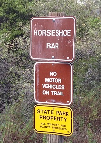 Horseshoe Bar trail marker along the Pioneer Express Trail