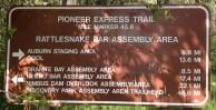 Pioneer Express Trail marker at Rattlesnake Bar.