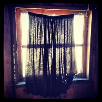 Drapes in the old cabin. Loves Come Softly movie set