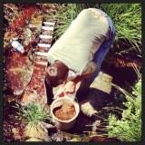 Washing dirt in a sluice on Acorn creek.