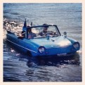 Bill's Tattoo Amphi-Car makes an unexpected float on the lake Sunday morning.
