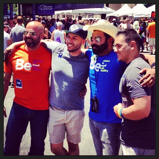 Buddies hanging out at the Sacramento Pride Festival