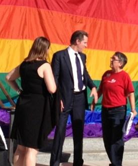 Tina Reynolds speaks with Lt. Gov. Gavin Newsom at Capital Marriage Equality Rally.