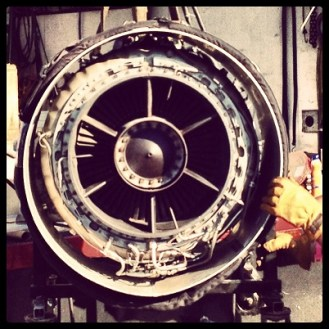 Turbo engine for one of the hydroplane H1 Unlimited boats.