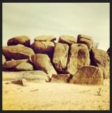 Exposed granite boulders on the peninsula of Folsom Recreation area.