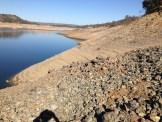 Steep, sandy, rocky slops of Folsom Lake - American River peninsula
