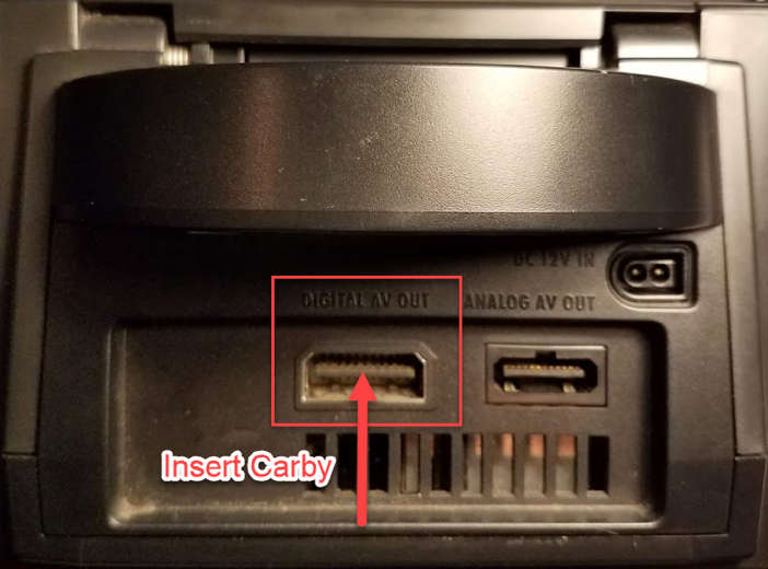 Carby GameCube Insert Location