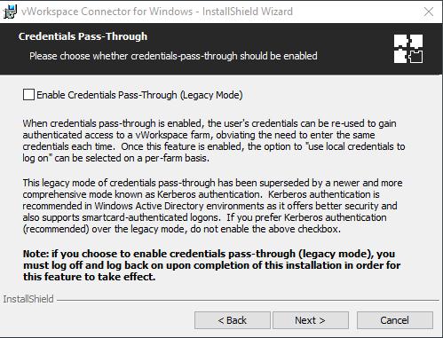 Setting up Credentials Pass-Through when installing a Windows Virtual Desktop