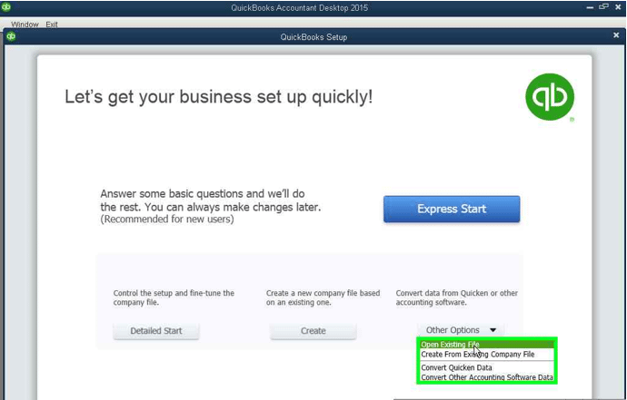Navigate the QuickBooks Welcome Screen