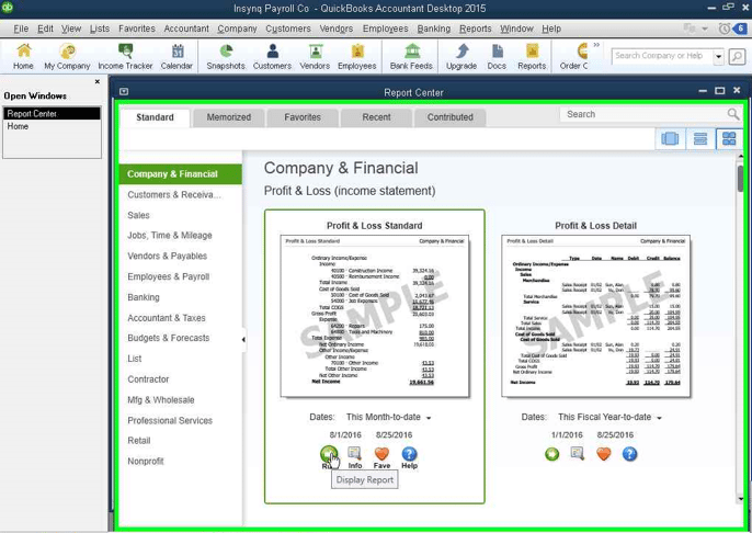 QuickBooks: run to show reports screenshot